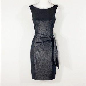 Cache black silver metallic wrap bodycon dress